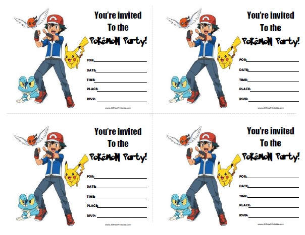 Pokemon Birthday Invitations Free Printable AllFreePrintablecom
