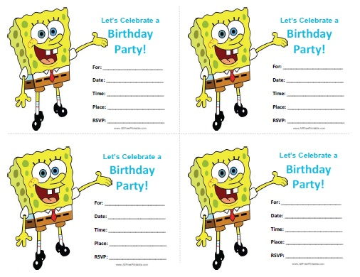 Free Printable Spongebob Birthday Invitations