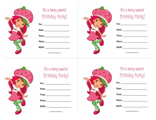 Free Printable Strawberry Shortcake Birthday Invitations
