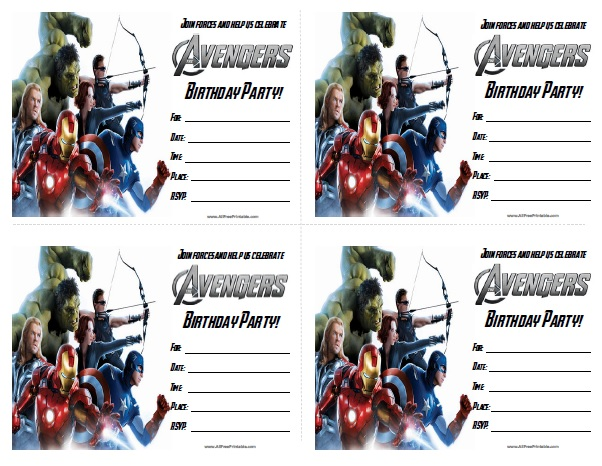Free Printable The Avengers Birthday Party Invitations