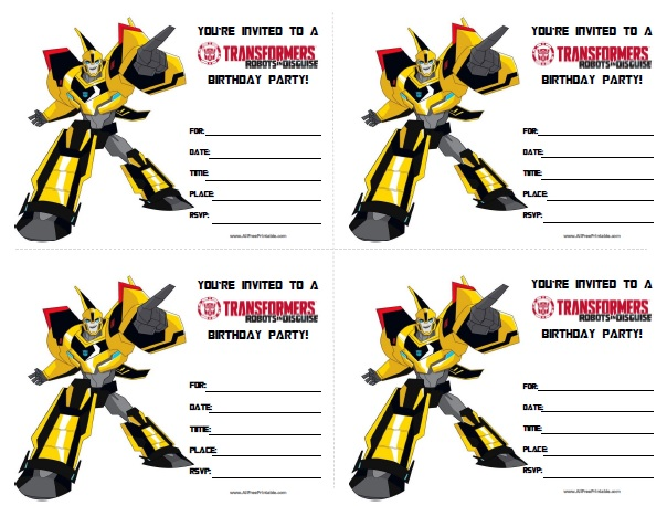 Free Printable Transformers Birthday Invitations Printable
