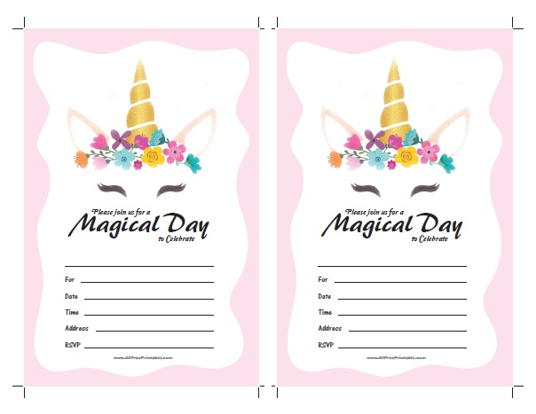 picture about Free Printable Unicorn Pictures known as Unicorn Invites - Free of charge Printable -