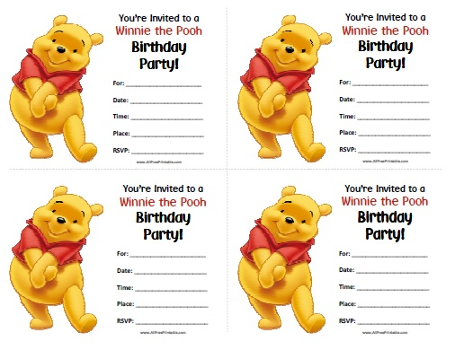 Free Printable Winnie the Pooh Birthday Invitations