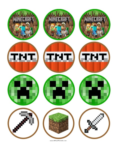 Free Printable Minecraft Cupcake Toppers