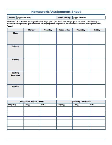 Free Printable Weekly Homework Assignment Sheet