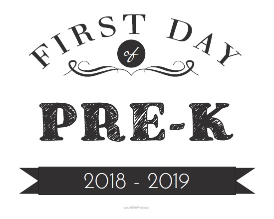 image about First Day of Pre K Sign Printable referred to as Initial Working day of Pre-K Signal - Cost-free Printable -