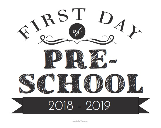 photograph regarding First Day of Preschool Free Printable called Initial Working day of Preschool Indicator - Totally free Printable
