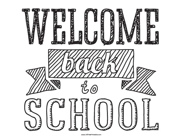 image relating to Free Printable Welcome Sign called Welcome Back again towards Faculty - Absolutely free Printable -