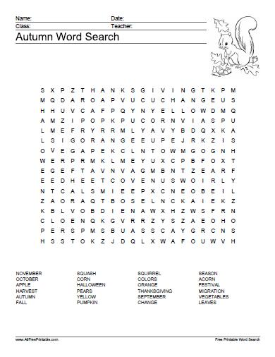 Free Printable Autumn Word Search Puzzle