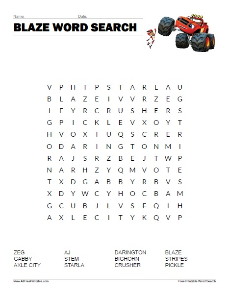 Free Printable Blaze and the Monster Machines Word Search