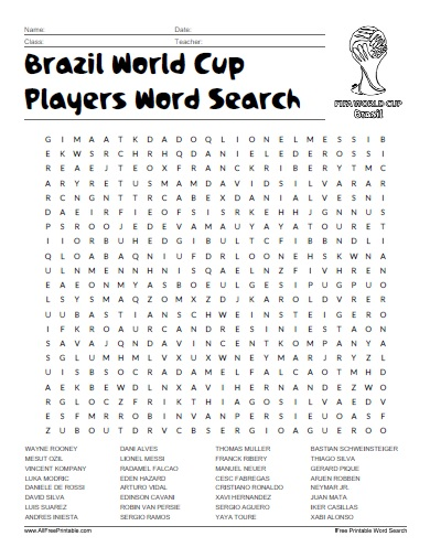 Free Printable Brazil World Cup Players Word Search