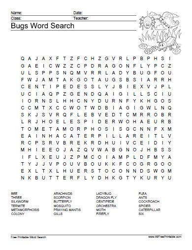 Free Printable Bugs Word Search Puzzle