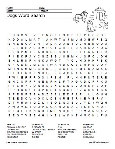 Free Printable Dogs Word Search