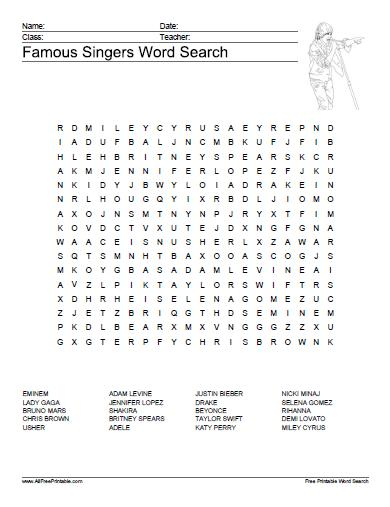 Famous Singers Word Search - Free Printable ...