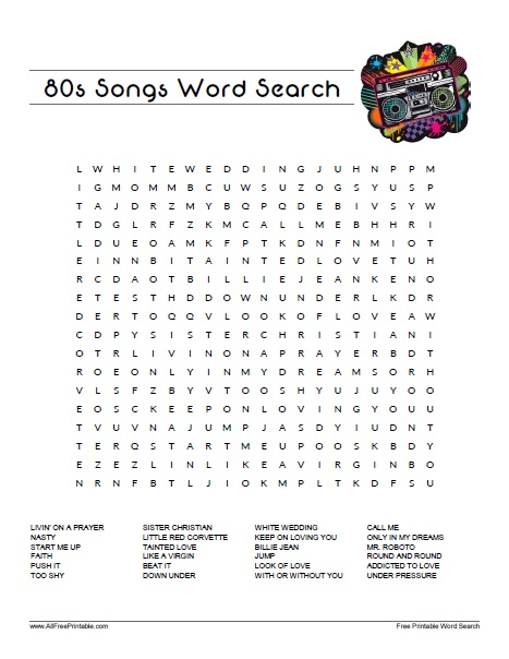Free Printable 80s Songs Word Search