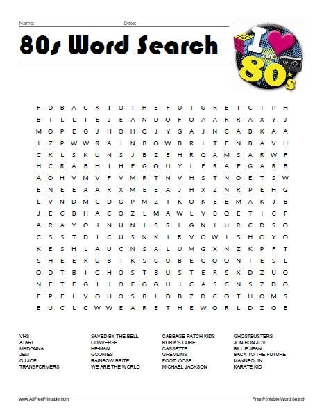 Free Printable 80s Word Search