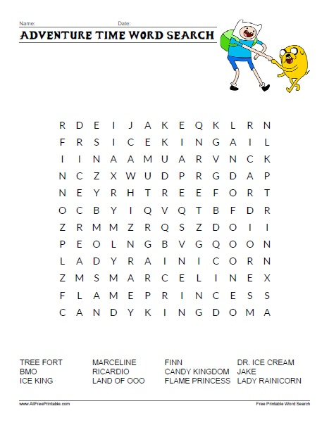 Free Printable Adventure Time Word Search