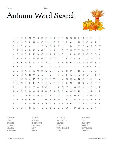 Free Printable Autumn Word Search