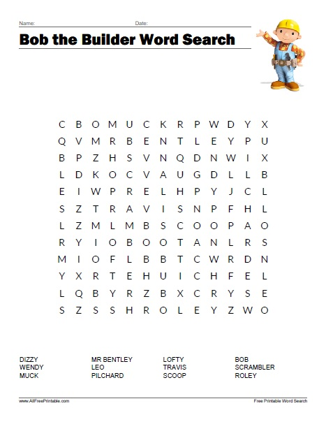 Bob the builder word search free printable Where to find a builder
