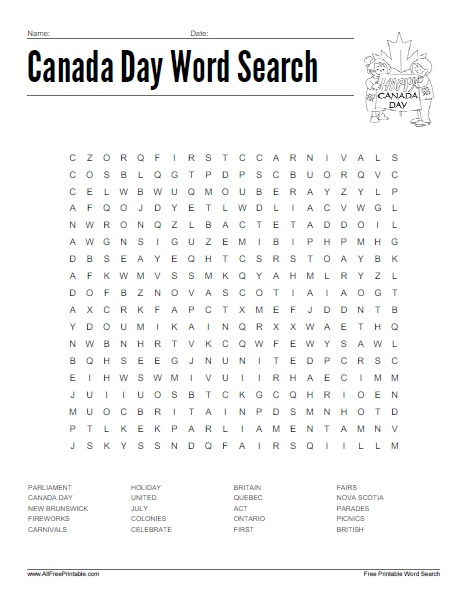Free Printable Canada Day Word Search