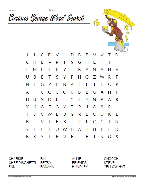 Free Printable Curious George Word Search