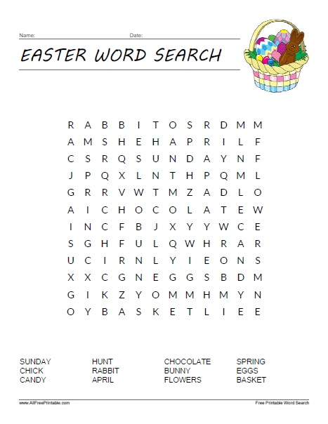Easter Word Search Free Printable Allfreeprintable Com