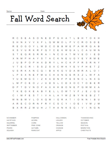 graphic relating to Fall Word Search Printable named Drop Phrase Seem - Absolutely free Printable -
