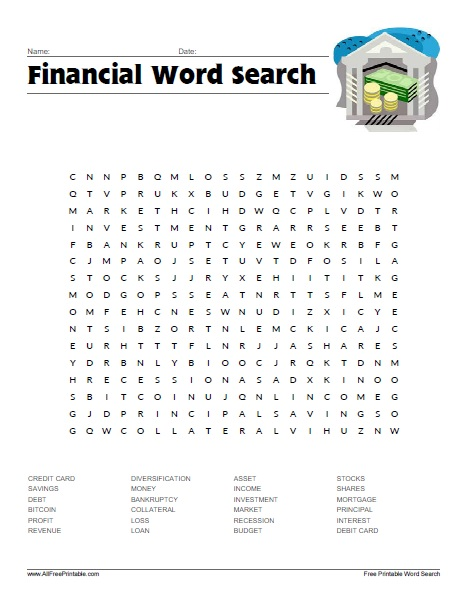 Free Printable Financial Word Search