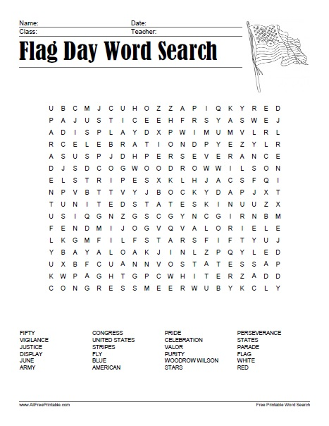 Flag Day Word Search Free Printable Allfreeprintable Com