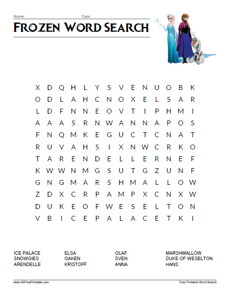 Frozen Word Search - Free Printable - AllFreePrintable.com