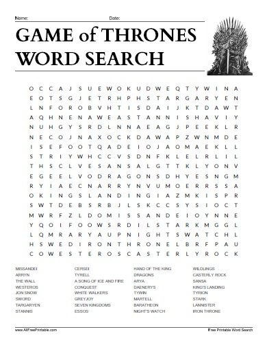 Free Printable Game of Thrones Word Search
