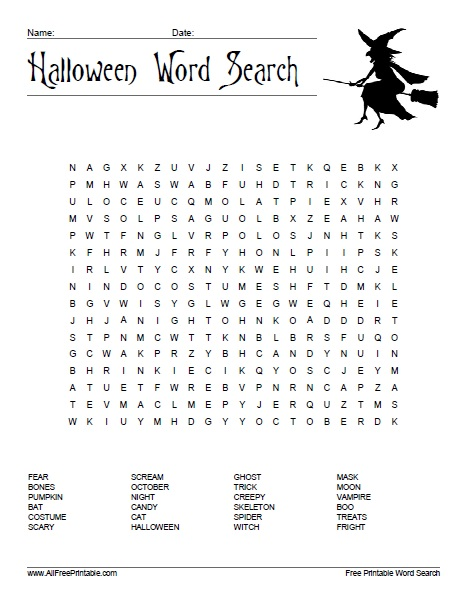 Free Printable Halloween Word Search Puzzle