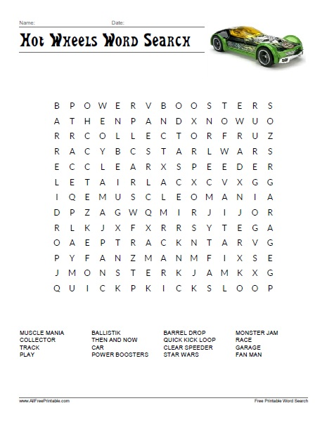 Free Printable Hot Wheels Word Search