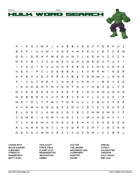 Free Printable Hulk Word Search
