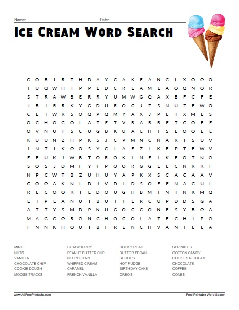 Free Printable Ice Cream Word Search