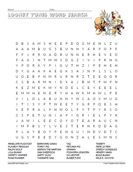 Free Printable Looney Tunes Word Search