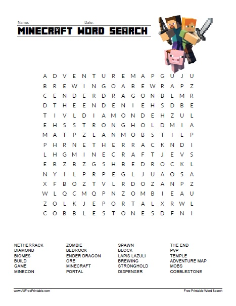 Free Printable Minecraft Word Search