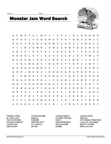 Monster Jam Word Search - Free Printable - AllFreePrintable.com