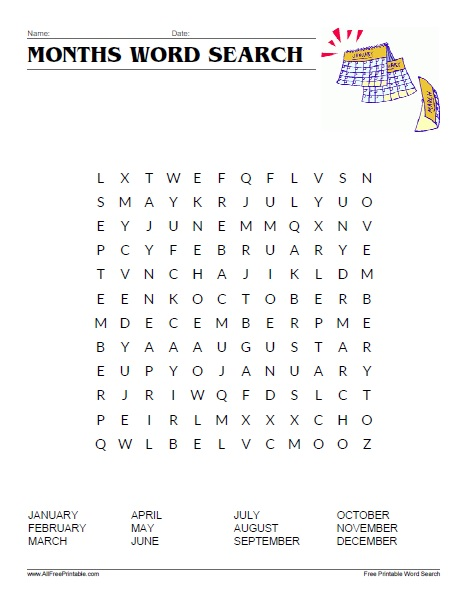 Free Printable Months of the Year Word Search