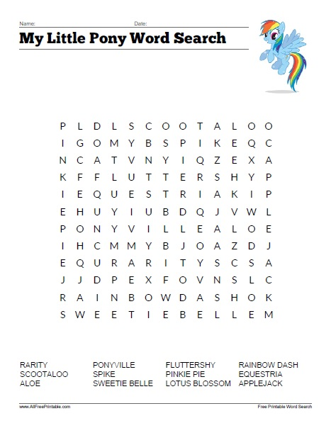 Charming Free Printable My Little Pony Word Search