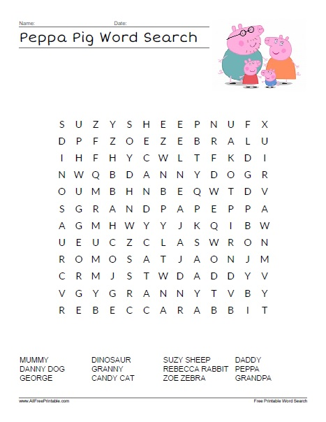 Free Printable Peppa Pig Word Search