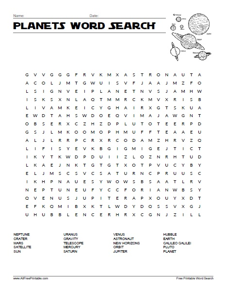 Free Printable Planets Word Search