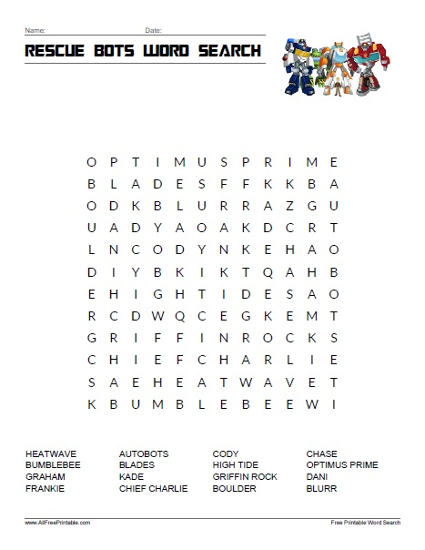 Free Printable Rescue Bots Word Search