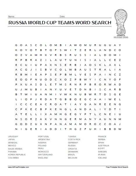 Free Printable Russia World Cup Players Word Search
