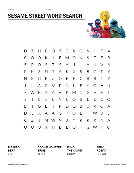 Free Printable Sesame Street Word Search