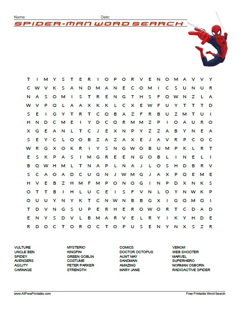 Nasomi Halloween 2020 Spider Man Word Search   Free Printable   AllFreePrintable.com