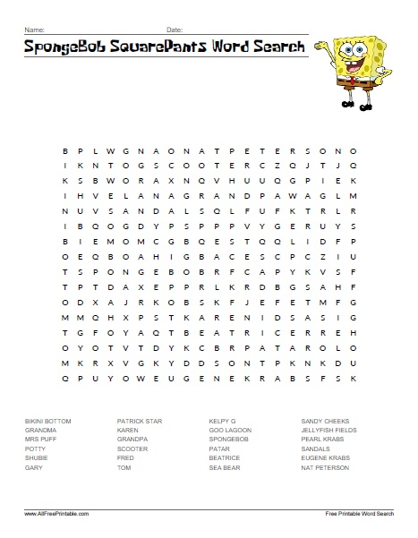 Free Printable SpongeBob SquarePants Word Search