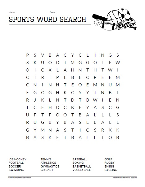 Peachy Sports Word Search Free Printable Allfreeprintable Com Download Free Architecture Designs Scobabritishbridgeorg