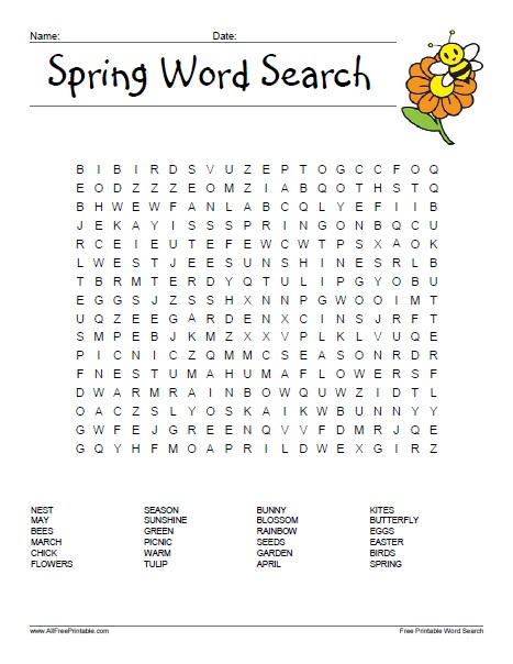 Free Printable Spring Word Search