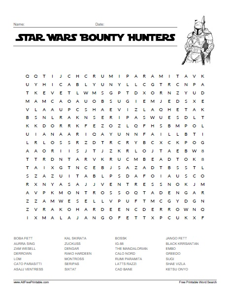 Free Printable Star Wars Bounty Hunters Word Search
